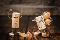 Wine cork figures, Concept Employee get into trouble Stock Image