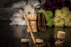 Wine cork figures, Concept Family making a trip Royalty Free Stock Photography
