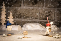Wine cork figures, Concept Fun with Snowball fight Stock Image