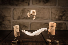 Wine cork figures, Concept funny family Stock Image