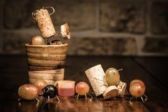 Wine cork figures, Concept funny squeezing grape juice Stock Images