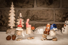 Wine cork figures, Concept harvest wine grapes Royalty Free Stock Photography