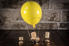 Wine cork figures, Concept Hot-Air Ballooning Royalty Free Stock Photo