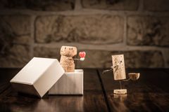 Wine cork figures, Concept Love present Stock Images