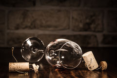 Wine cork figures, Concept men to get tipsy with wine Royalty Free Stock Photos
