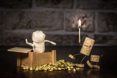Wine cork figures, Concept Mummy in a tomb Royalty Free Stock Photo