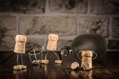 Wine cork figures, Concept new beginning Stock Photos
