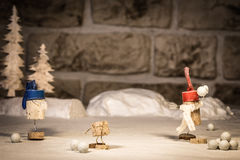 Wine cork figures, Concept snowballs and Children Royalty Free Stock Photo