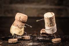 Wine cork figures, Concept sport of sumo Stock Photography