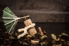 Wine cork figures, Concept stormy autumn weather Royalty Free Stock Images