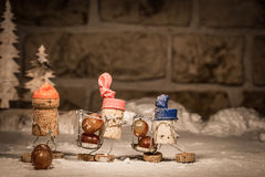 Wine cork figures, Concept three men harvesting wine grapes Royalty Free Stock Photos