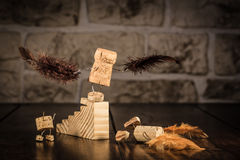 Wine cork figures, Concept try to Fly Stock Photos