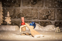 Wine cork figures, Concept Two men shoveling snow Royalty Free Stock Images
