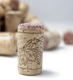 Wine cork with grape. Illustration Royalty Free Stock Images