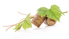 Wine cork with grape illustration and green leaves. Isolated on white background royalty free stock photography