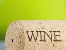 Wine cork. On green bottle background Stock Photography
