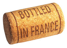 Wine cork with inscription bottled in France Stock Images