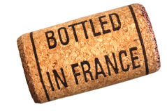 Wine cork with inscription bottled in France Stock Photography