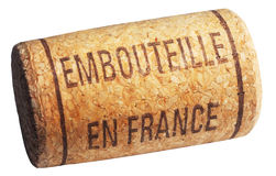 Wine cork with inscription embouteille en France Royalty Free Stock Photo