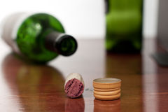 Wine cork and screw cap Royalty Free Stock Photography