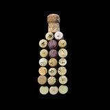 Wine corks. Laid out in the form of a bottle of wine royalty free stock photo