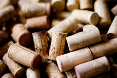 Wine corks. Bunch of wine corks on wooden table Stock Images