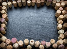 Wine corks arranged as frame. Royalty Free Stock Image