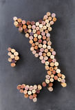 Wine corks arranged in shape of Italy. Or Apennine Peninsula Stock Images