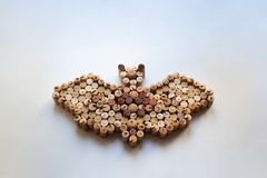 Wine corks bat composition with a copy space. Wine corks bat composition isolated on white background with a copy space royalty free stock photos