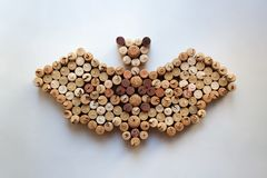 Wine corks bat silhouette on white background. Wine corks bat silhouette isolated on white background from a high angle view royalty free stock images