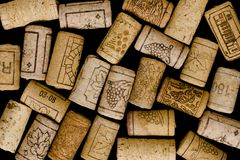 Wine corks on black background Royalty Free Stock Photo