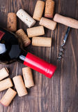 Wine corks and bottle of wine Stock Photo