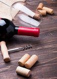 Wine corks and bottle of wine Royalty Free Stock Photo