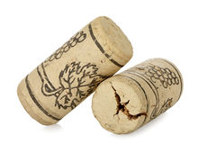 Wine corks. Corks from wine bottles isolated on white Stock Photo