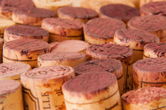 Wine corks. Close-up of multiple wine corks (mainly red wine Royalty Free Stock Images