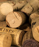 Wine Corks. Close up of wine corks with one on left hand side saying wines. Short depth of field focus in the foreground. Copyspace Stock Images