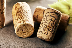 Wine corks in close-up view. Arrangement of wine corks in close-up view Royalty Free Stock Image