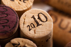 Wine Corks Close-up with the vintage 2010 Royalty Free Stock Photos