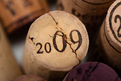 Wine Corks Close-up with the vintage 2009 Royalty Free Stock Images