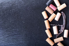Wine corks with corkscrew Royalty Free Stock Images
