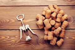 Wine corks and corkscrew Stock Photo