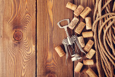 Wine corks and corkscrew Royalty Free Stock Photos
