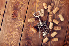 Wine corks and corkscrew Stock Photos