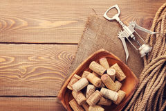 Wine corks and corkscrew Royalty Free Stock Photo