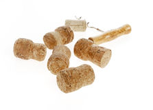 Wine corks and a corkscrew separately Stock Photos