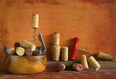 Wine corks and corkscrews, Royalty Free Stock Photography