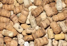 Wine corks editorial background with dates and drops of wine on February 18, 2017 in Kiev, Ukraine. KIEV, UKRAINE - FEBRUARY 18 : Wine corks editorial background Royalty Free Stock Images
