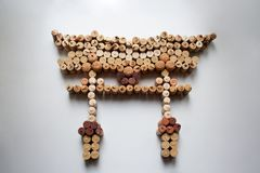 Wine corks floating torii gate stock photos