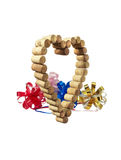 Wine corks in the form of heart and bows Stock Photo
