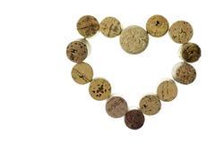 Wine corks form a heart shape image isolated on white background horizontal Stock Image